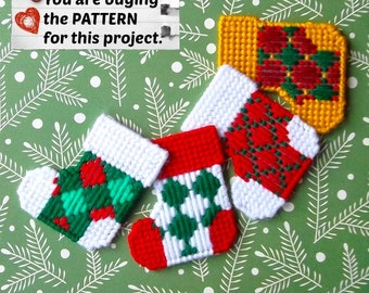 "Plastic Canvas Pattern: Christmas Stockings -- ""Diamonds"" (4 designs) ***PATTERN ONLY***"