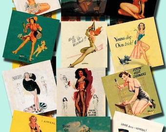 vintage fifties matchbook art with pin up girls, digital collage sheet no. 64