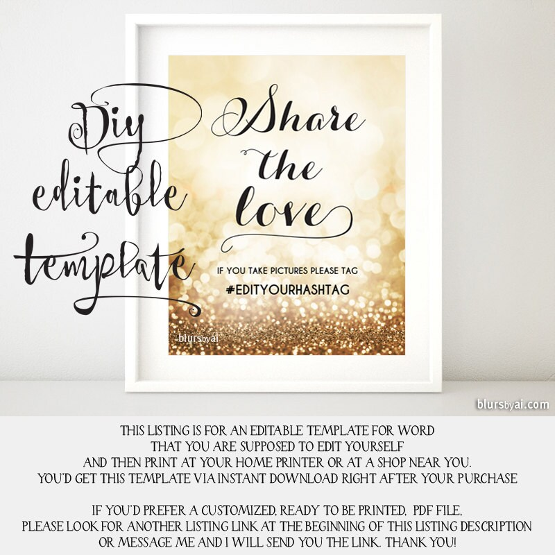 Printable hashtag sign TEMPLATE diy wedding hashtag sign