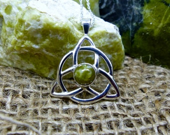 Circle Trinity Pendant, Scottish Green Marble set in Sterling Silver, Celtic Design (item number 7221X)