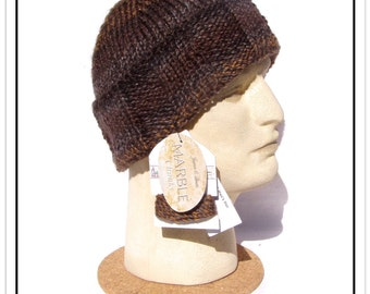 """NEW! The """"MAN HAT"""" for Men - Beanie/Cap with Wide Fold-up Ear-Warming Brim - Sz Medium (Fits Most) - Of Easy-care Acrylic"""