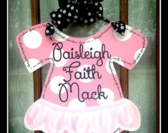 Hospital Door Baby Tutu Welcome Home Baby Sign Welcome Baby Personalized  Door Hanger Choose Your Colors