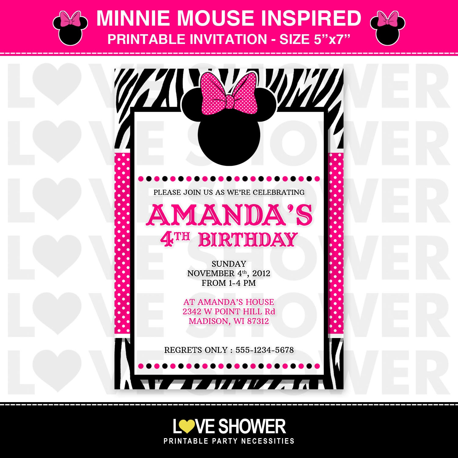 Minnie Mouse BOWTIQUE Disney Inspired Printable Birthday