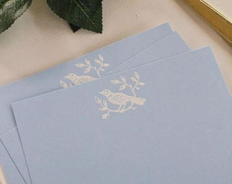 Embossed Note Cards, Flat Note Cards, Stationery Set, Bird on a Branch Botanical