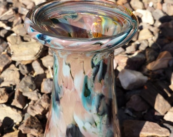 Small multicolored glass vase
