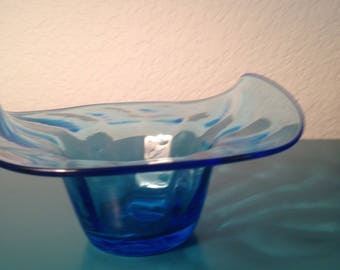 Beautiful aqua hand blown glass bowl