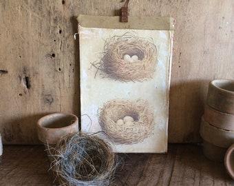 Vintage style Bird Nest Print