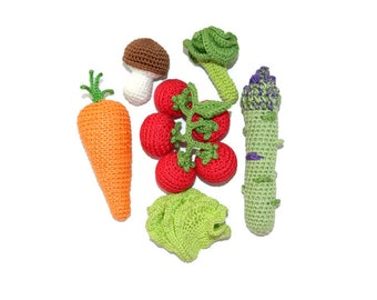 Crochet vegetables Toys 6 pcs Pretend play Baby gifts Kids gifts Play food Organic Toys Kitchen decor Waldorf toys Tomato cherry Mothers day
