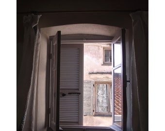 VIEW from my WINDOW. Fine Art Photograph. Shabby Chic. Corsica.