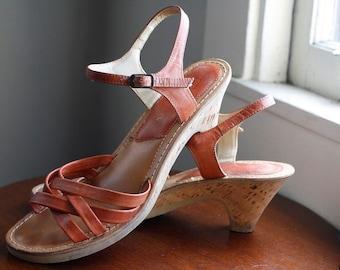 Vintage 70s Thom McAnn Platform Sandals with Cork Wedge Heels Size 7-7 1/2 M