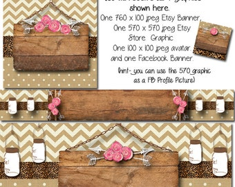 Etsy Banner and Facebook Set - Country Store, DIY Etsy Template, Facebook Banner Template, Etsy Cover Photo Tempalte