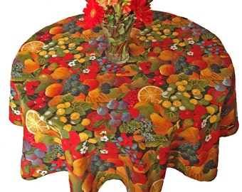Fruit Tablecloth, Provence Tablecloth, French Tablecloth, Round Tablecloth