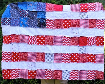 Throw Rag Quilt- Proud to be an American- American Flag Quilt- Ready to Ship