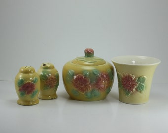 Vintage Sun Glow Pottery Hull USA Pieces Set Yellow Vase, Jar With Lid, Salt & Pepper Set Ceramic Pink Flowers Instant Collection Kitchen