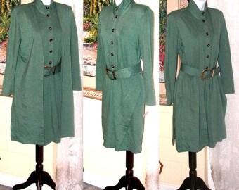 Vintage Dress and Vest Set - Bucked Belt - Ginger Bort PG Collections - Sage Green - Eighties