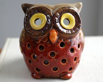 Small Chubby Owl Candle Holder Ceramic Candle Lantern Lighting Fixture Miniature Pottery Lamp Colorful Rustic Bohemian Home Decor Vintage