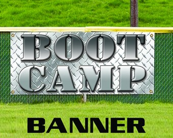 Boot Camp Black And White Advertising Vinyl Banner Sign