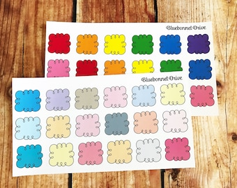 Doodle Box Stickers, Functional, Pastel, Sized for Erin Condren Life Planner, Rainbow, Pastel