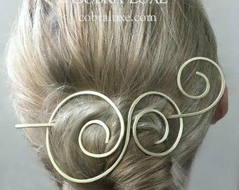 Brass Hair Barrette Gold Bun Holder Metal Hair Slide Gold Hair Clip Metal Hair Stick Long Hair Accessory Gift for Women