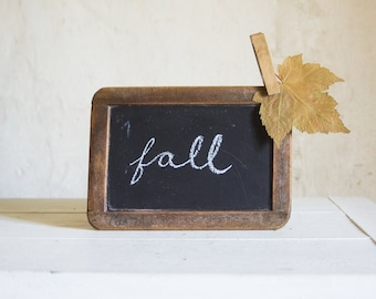 Vintage School Slate // 1940 French Chalkboard Ardoise // Writing slate in Black and Wood Frame // Fall Autumn Decor