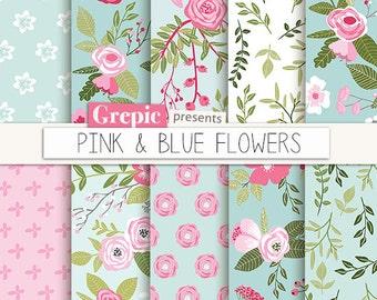 "Spring digital paper: ""PINK & BLUE FLOWERS"" floral backgrounds, flower pattern, pink teal, turquoise, roses, summer, vintage flowers"