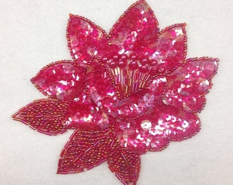 Hot Pink Sequined &Beads Flower Applique Millinery Sewing Supplies