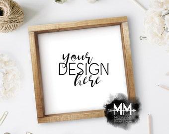 Styled Frame Mockup, Wood Frame Mockup, Styled Stock Photography, Blank Frame Stock Photo, Box Frame Mockup Add Your Design Digital Download