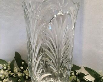 "Vintage Deep Cut Glass Vase 8 1/2"" Tall Home Decor"