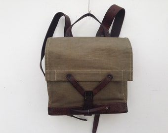 Swiss army | Vintage | 1940s | Satchel/backpack | Canvas/leather | Khaki green | Military