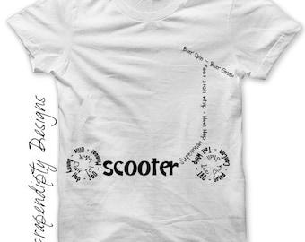 Scooter Iron on Shirt PDF - Sports Iron on Transfer / Boys Room Art Decor / Toddler Boys Clothes / Scooter Teen Boys Shirt / Digital IT146