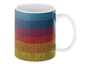 Rainbow Knitting Coffee Mug - Free shipping USA and Canada