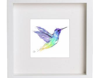 Framed hummingbird print // hummingbird print // hummingbird art // hummingbird drawing // colourful hummingbird art // colourful bird print