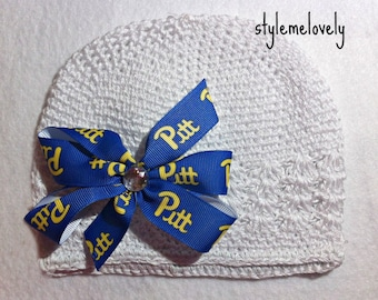 Pittsburgh Panthers Baby Girl Boutique Bow Crocheted Hat