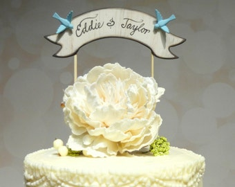 Custom Wedding Cake Topper, Banner Cake Topper, Names Cake Topper Love Bird, Blue Wedding Topper