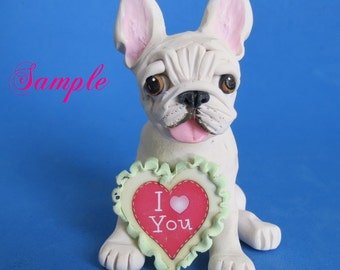 Creamy white French Bulldog DOG I Love (heart) You Sculpture Clay art by Sallys Bits of Clay