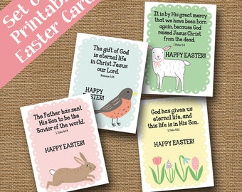 Set of 4 printable childrens easter cards diy printable christian easter cards with scriptures diy printable religious bible verse easter card for children sunday school sweet spring cards negle Images