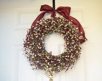 Burgundy Cream Holiday wreath -  Year round wreath - mixed berry wreath - Front Door Decor