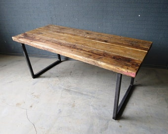 Reclaimed Industrial Chic 6-8 Seater Dining Table - Bar Cafe Restaurant Furniture Steel Solid Wood Metal Made to Measure 088
