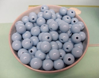 50x Baby Blue Solid Colour Resin Globe Round Beads 12mm