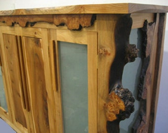 Solid elm and sand-blasted glass drinks cabinet