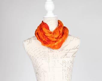 Burnt orange wrinkled infinity scarf / Trendy orange scarf  / orange infinity silk scarf / burnt orange circle scarf