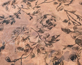 Vintage Sheer Bronze Brown Black Rose Chiffon Curtain Fabric, Flowers Floral Gauze Fabric Material 5 yards