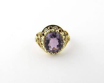 Vintage 14 Karat Yellow Gold Amethyst and Pearl Ring Size 5.75 #1215