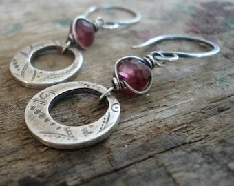 Winterberry Earrings  - Handmade. Wire wrapped Rhodolite Garnet. Oxidized fine silver