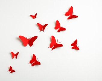 3D Wall Butterflies: 3D Butterfly Wall Art for Modern Home Decor in Ruby Red Metallic