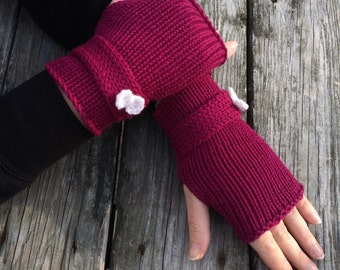 Knit Gloves, Fingerless Gloves, Gloves with Bow,  Bow Accent Gloves, Bow Gloves, Hand Warmers, Knit gloves with bow, Ready to Ship