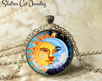 "Spiral Sun and the Moon Necklace - 1-1/4"" Circle Pendant or Key Ring - Wearable Art Photo - Celestial, New Age, Nature, Magic Gift for Her"