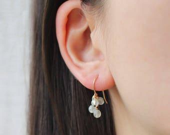 "14k goldfill earrings - delicate handmade gold earrings, modern sweet earrings, faceted beaded earrings - ""lucky"" faceted earrings in frost"