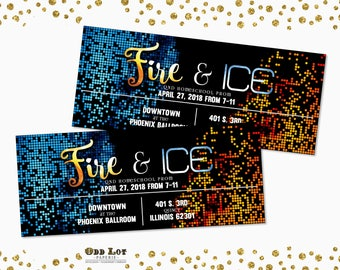 Fire and Ice Party Invite Printable Fire and Ice Homecoming themed Ticket Invites, Graduation, B'Not Mitzvah, Bridal Shower, Party Invites