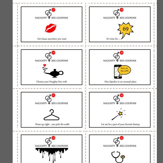Printable Naughty,Sex Coupons, Instant Download, 24 Naughty Cards,Erotic  Coupons,Sexy Valentines Gift,Valentine Printable,Paper Aanniversary